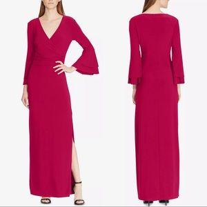 RALPH LAUREN Womens Bell Sleeve V Neck dress